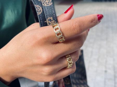 """Χρυσό ατσάλινο δαχτυλίδι με ζιργκόν """"Gold-Naia"""""""